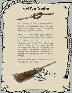 Banish Troubles Knot Spell Book of Shadows Parchment page & color in Everything Else, Metaphysical, Wicca, Other Wicca Witch Spell Book, Witchcraft Spell Books, Wicca Witchcraft, Magick Spells, Hoodoo Spells, Luck Spells, Moon Spells, Healing Spells, Spells For Beginners
