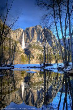 Upper Yosemite Falls, Merced River, Reflection, HDR