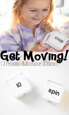 Such a fun indoor gross motor activity to keep kids moving! Just print out the dice and have your child roll and move! Fun Indoor Activities, Gross Motor Activities, Movement Activities, Gross Motor Skills, Therapy Activities, Educational Activities, Physical Activities, Physical Education, Learning Activities