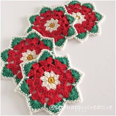 Crochet Coaster Pattern Christmas Rose Coaster by SewHappyCreative Crochet Coaster Pattern, Crochet Motif, Crochet Doilies, Crochet Yarn, Crochet Flowers, Ravelry Crochet, Thread Crochet, Free Crochet, Christmas Crochet Patterns