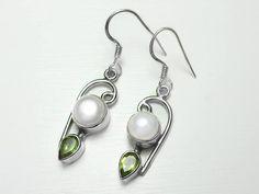 Sterling Silver Freshwater Pearl Peridot Earrings