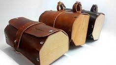 Bicycle Saddle Bag , leather and wood bicycel , handcrafts , bike bage