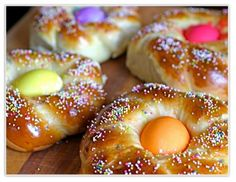 My three daughters and I make Easter Egg Bread every year. We make wreaths with 6 eggs and I always try to give a wreath to a new friend each Easter. We love the tradition!