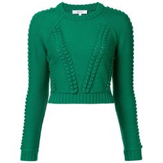 Milly Damen Cropped-Pullover mit Zopfmuster - reduziert ($445) ❤ liked on Polyvore featuring tops, pullover tops, cropped pullover, cropped tops, cut-out crop tops and green crop top