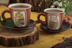 handmade ceramic owl muggs