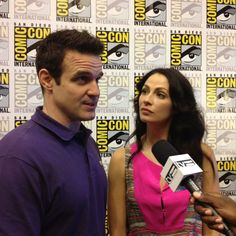 Eddie McClintock and Joanne Kelly in the Warehouse 13 press room at Comic-Con. Stay tuned for interviews.