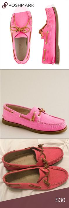 Sperry Top-Sider for J.Crew 2-Eye Boat Shoes These stunning, limited edition collection, Sperry Top Authentic Original 2-eye boat shoes in pink twill were made for J.Crew. They have only been worn a handful of times, as evidenced in the pictures. These are a 7 1/2 women's shoe. The original Price was $98. The asking price is $30 OBO. *Comes from a pet-free and smoke-free environment* Sperry Shoes Flats & Loafers