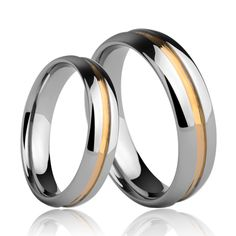 Tungsten Men's Jewelry Couple Ring 6mm 4mm Width Rings for Women's Men's Gold Plating Rings Free Engraving #Affiliate