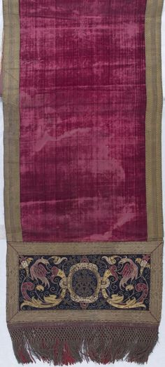 Table Runner made from two Apparels  Textile  Spanish  ,  16th century  Creation Place: Spain  Silk with gilt metallic yarn embroidery  54.9 x 218.4 cm (21 5/8 x 86 in.)  Harvard Art Museums/Fogg Museum, Bequest of Nettie G. Naumburg  , 1930.363