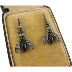 Sweet Silver, Opal & Garnet Colourful 'Rainbow Fly' Vintage Insect Earrings, Victorian Style