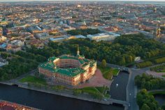 Aerial view of Mikhailovsky (Engineers') Castle in St. Petersburg, Russia