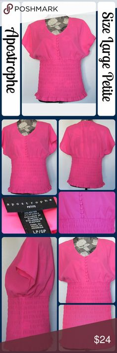 """New Sz L Apostrophe Top, Pink So chic and perfectly on trend! Brand new without tags. Perfect dressed up or down!  97% Polyester, 3% Spandex.  -Across Bust 24"""" -Length 25"""" from center back No rips, tears, or stains. From a smoke-free, dog friendly home, No trades and no off-site transactions! (T118) Apostrophe Tops Blouses"""