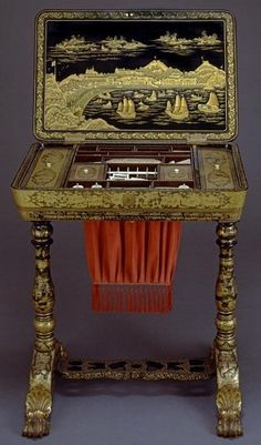 Wetmore Sewing Table, 1830-1840 China Lacquer, wood Gift of Mr. & Mrs. Francis B. Lohrop, 1970 E82997      Wetmore Sewing Table, 1830-1840    Peabody Essex Museum 2007 Mark Sexton Photo