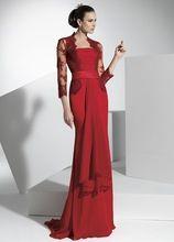 Chiffon longo Sheer Lace Red mãe da noiva vestidos com mangas 3/4 de festa de casamento lindo(China (Mainland))