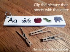 Free beginning sounds activity from the Measured Mom ~ Handy!
