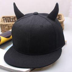 Men s Women s Snapback adjustable Baseball Cap Hip Hop Hat Black Devil  Horns Hat b863fc51e5b6