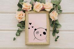 Cute Panda Bear Printable Panda Pink Art Print - Perfect for kids and Nursery Decor - Digital printable art print