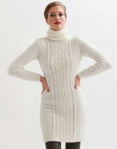 Free knitting pattern for a figure hugging cable dress
