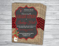 Any Event/Color TEXAS TECH GRADUATION Announcement by PrintPros