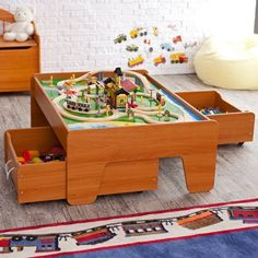 KidKraft Train Trundle Drawes  Natural   17751 | Drawer Design, Drawers And  Indoor Playground