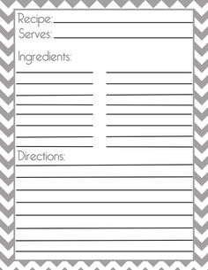 Chevron Gray Recipe Page and Filler Page