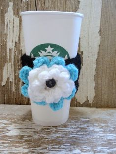 Black with Turquoise and White Double Flower Coffee Sleeve or Tea COZY . . .