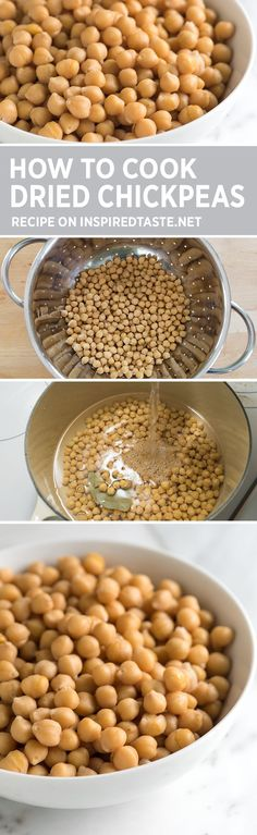 How to soak and cook chickpeas including cooking chickpeas in a slow cooker recipe via inspiredtaste Chickpea Recipes, Vegetarian Recipes, Healthy Recipes, Chickpea Salad, Healthy Options, Healthy Cooking, Cooking Tips, Cooking Recipes, Sauces