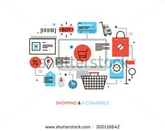 Thin line flat design of e-commerce website, purchasing goods via internet, online shopping cart with products, solution for customer. Modern vector illustration concept, isolated on white background.