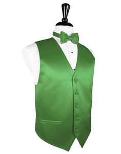 "Kelly Green ""Premier"" Satin Tuxedo Vest"