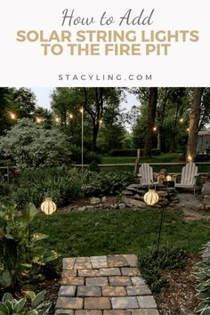 How to Add Solar String Lights to the Yard, Farmhouse decor, backyard design, backyard garden, backyard garden ideas, fire pit ideas, fire pit garden, solar string lights, solar lights, fixer upper style, cottage garden, Adirondack chairs, stone fire pit, fire pit ideas, garden design, garden bed layout, garden layout, garden planning, backyard garden design, gardening tips, entertaining ideas, twinkle lights, outdoor living spaces how to hang string lights when there is nothing to attach it… Garden Bed Layout, Backyard Garden Design, Backyard Patio, Backyard Ideas, Rustic Outdoor Decor, Outdoor Ideas, Solar String Lights, Garden Images, Rustic Style