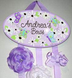 HAIR BOW HOLDER - Personalized Daisy Lilac Butterfly HairBow Holder - Bows and Clippies Organizer - Girls Personal Hair Bow and Clip Hanger