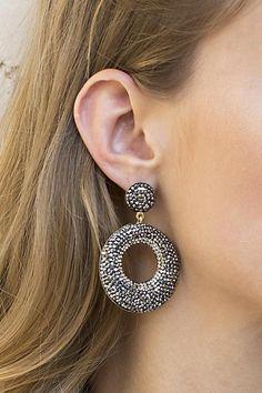 From LA designer Native Gem Svarovski Crystal Earrings with MODern sleek design Post backing 2 Bold Jewelry, Gems Jewelry, Statement Jewelry, Beaded Jewelry, Jewellery, Crochet Accessories, Fashion Accessories, Crystal Earrings, Drop Earrings