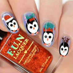 "Emy | Nail Art ❄️⛸ en Instagram: ""Pinguïn for the #glamnailschallengejan 🐧❄️ Polishes I used: ❤️ @funlacquer Romance 🧤 @funlacquer Lucky Girl ❄️ @cirquecolors Cool Blast 🖤…"""