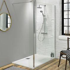 Fino 1000mm Walk In Shower Screen with Return Panel & Shower Tray