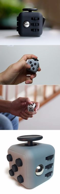 Fidget Cube Toy Stress and Anxiety Relief for Children and Adults Helps Focus and Concentration - Gray and Black @aegisgears