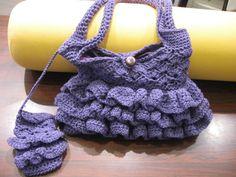 Crochet Ruffle Purple Purse - With Ruffled Cell Phone Holder