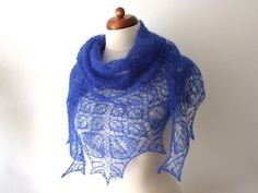 blue lace shawl knit scarf triangle handknit by KnitsDeLuxe, $89.00
