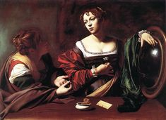 St Martha and Mary Magdalene by Caravaggio, c. 1598AD. Baroque Style. Detroit Institute of Arts, Detroit, MI, USA.