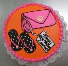 Bright, Stylish Flip-Flops cake #icingonthecakelosgatos