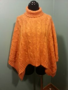 5.525 Tangerine Orange Kid Mohair Wool Blend Turtleneck Poncho Dress Sweater 0/S $37 Free Shipping!