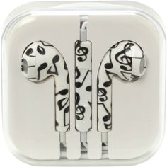 MiCase Music Note Print Earbuds   Hot Topic (12 CAD) ❤ liked on Polyvore featuring accessories, electronics, tech, headphones, earphones earbuds, headphone earbuds, ear bud headphone and earbud headphones