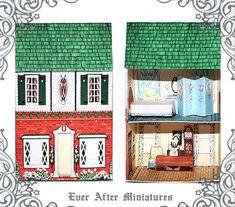 VINTAGE Dollhouse Miniature Kit 1 DIY Craft Printable | Etsy Miniature Houses, Miniature Dolls, Paper Furniture, Toy House, Thing 1, Barbie Toys, Vintage Dollhouse, Pink Bedding, House Inside