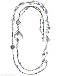 """This Sterling Silver, Amethyst, etched Glass, Brass and Shell Necklace is soft on colour but bold on style. Approximately 45""""."""