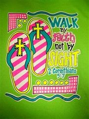 Southern Chics Walk by Faith Not by Sight Cross Flip Flops Christian G | SimplyCuteTees