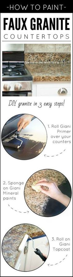 Dreaming of granite, but it isn't in the budget? Paint your own! Transform any countertop, desktop, or vanity into a custom faux granite finish using Giani™ stone paints for countertops. {Review & How-To} by 'Real Country Living': http://www.realcountryliving.com/country-living-room/amazing-painted-countertops-look-like-granite-part-1/ #HomeAppliancesHowToPaint