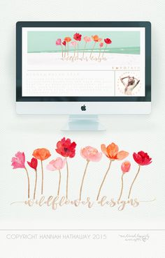 Pre Made Brand Set  Flower Logo  Modern Logo  Handwritten