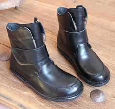 Handmade Women Black Leather BootsAnkle Boots for by HerHis