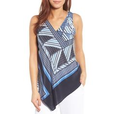 Women's Nic+Zoe Calypso Silk Blend Tank ($138) ❤ liked on Polyvore featuring tops, multi, asymmetrical tank, striped top, bohemian tops, blue tank top and striped tank