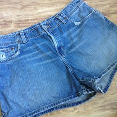 Plus 16/18 BKE Distressed Denim Shorts 34 RARE Fun distressed jean shorts without the typical BKE price tag.  Hard to find size.  Factory snags and fading.  Additional minor rip in waist, not sure if it was made that way.  Side splits, finished edges.  Tag states 34, but Posh doesn't offer that as a waist size.  100% cotton.  Inseam: 3.5, Rise: 10.5 BKE Shorts Jean Shorts