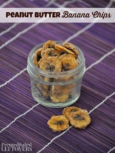 Peanut Butter Banana Chips Recipe-These chips are easy to make with the help of your food dehydrator. Add them to school lunches or your diaper bag for an on-the-go snack.